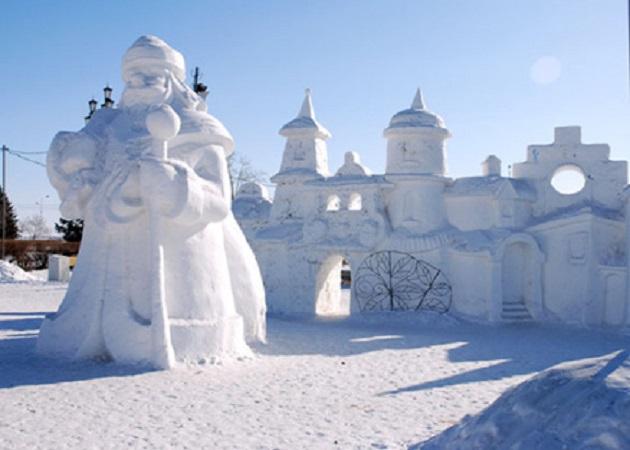 Снежный городок на Центральном стадионе