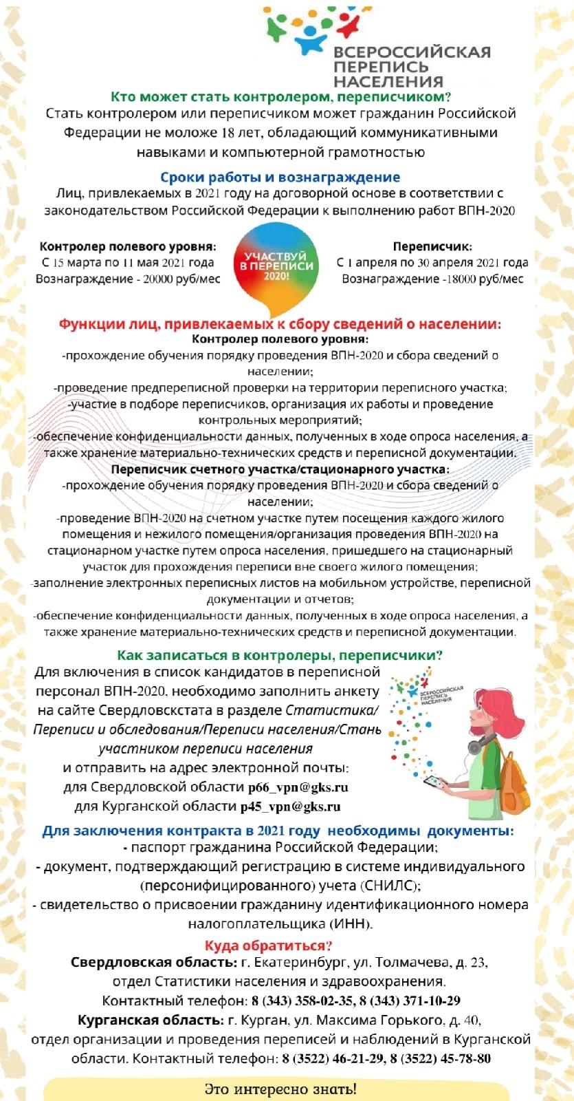 Команда Всероссийской переписи населения приглашает переписчиков и контролеров